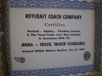 1964 Roycraft Breeze Certificate